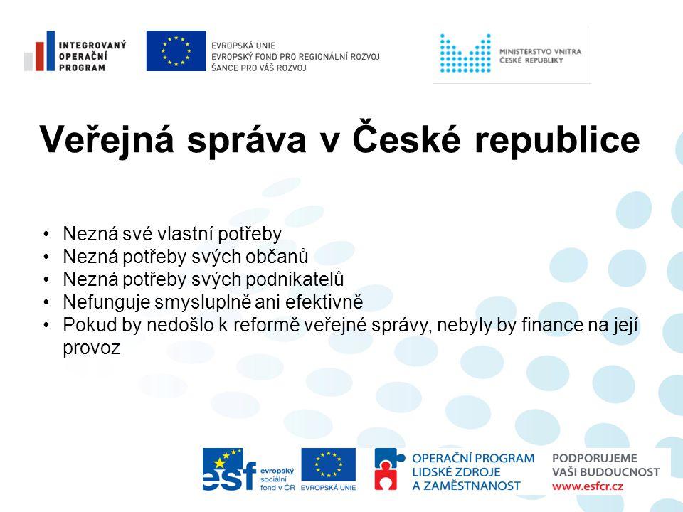 Veřejná správa v České republice •Nezná své vlastní potřeby •Nezná potřeby svých občanů •Nezná potřeby svých podnikatelů •Nefunguje smysluplně ani efe