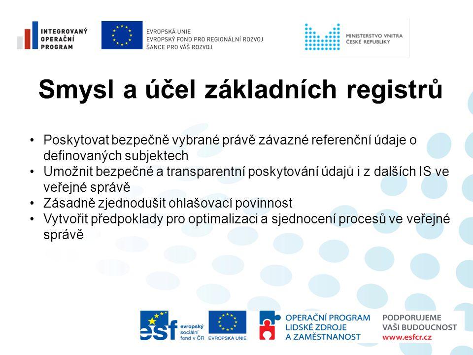 Smysl a účel základních registrů •Poskytovat bezpečně vybrané právě závazné referenční údaje o definovaných subjektech •Umožnit bezpečné a transparent