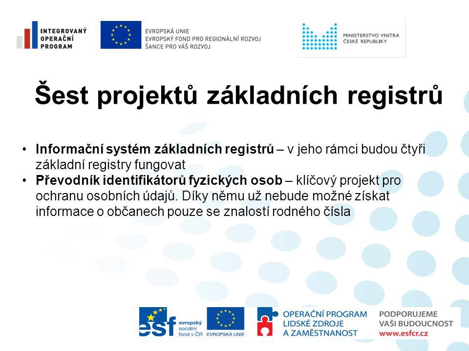 Šest projektů základních registrů •Informační systém základních registrů – v jeho rámci budou čtyři základní registry fungovat •Převodník identifikáto