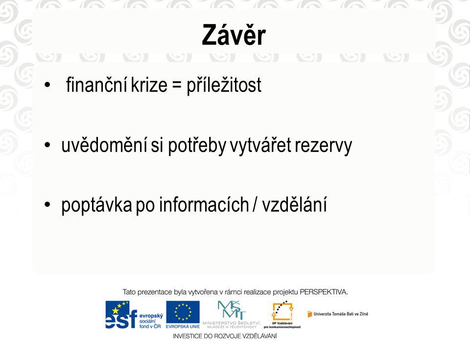 Závěr • finanční krize = příležitost • uvědomění si potřeby vytvářet rezervy • poptávka po informacích / vzdělání