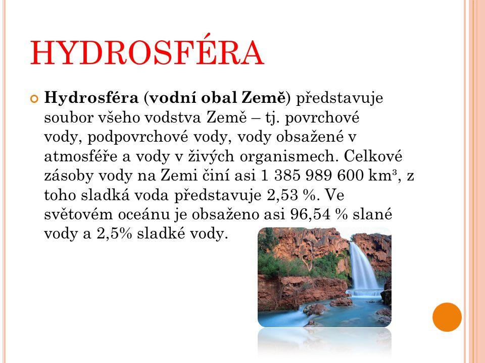 HYDROSFÉRA Hydrosféra ( vodní obal Země ) představuje soubor všeho vodstva Země – tj. povrchové vody, podpovrchové vody, vody obsažené v atmosféře a v