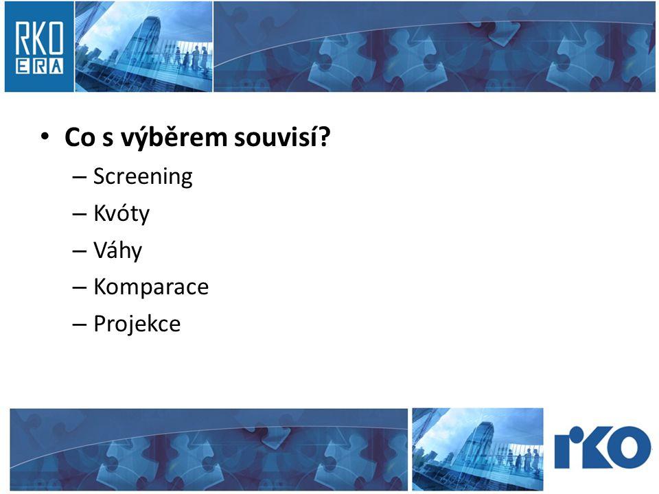 • Co s výběrem souvisí? – Screening – Kvóty – Váhy – Komparace – Projekce
