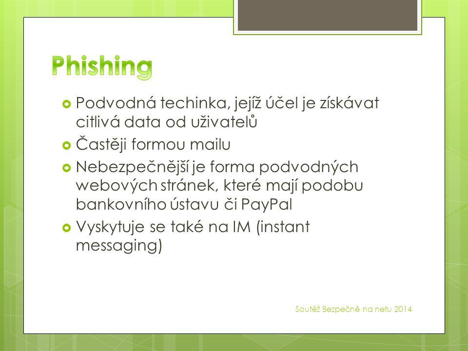  Podvodná techinka, jejíž účel je získávat citlivá data od uživatelů  Častěji formou mailu  Nebezpečnější je forma podvodných webových stránek, které mají podobu bankovního ústavu či PayPal  Vyskytuje se také na IM (instant messaging)