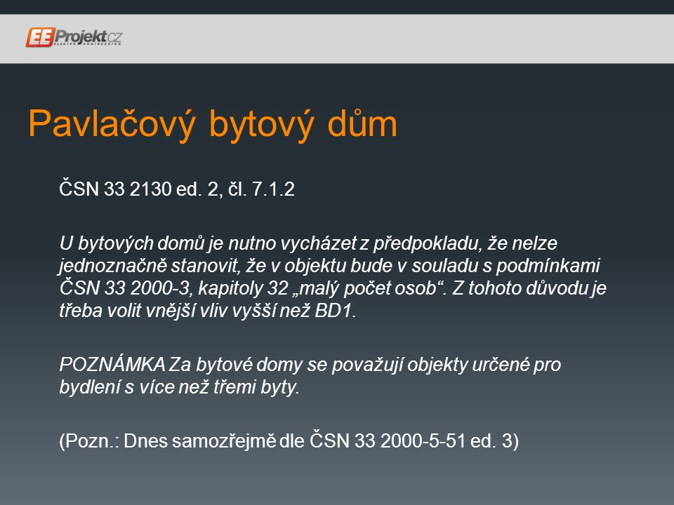 Pavlačový bytový dům ČSN 33 2130 ed.2, čl.