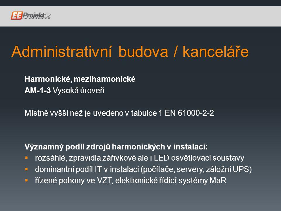 Administrativní budova / kanceláře Harmonické, meziharmonické AM-1-3 Vysoká úroveň Místně vyšší než je uvedeno v tabulce 1 EN 61000-2-2 Významný podíl zdrojů harmonických v instalaci:  rozsáhlé, zpravidla zářivkové ale i LED osvětlovací soustavy  dominantní podíl IT v instalaci (počítače, servery, záložní UPS)  řízené pohony ve VZT, elektronické řídící systémy MaR