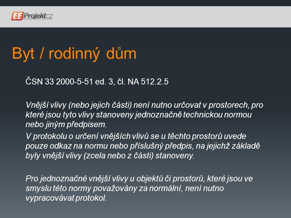 Byt / rodinný dům ČSN 33 2000-5-51 ed.3, čl.