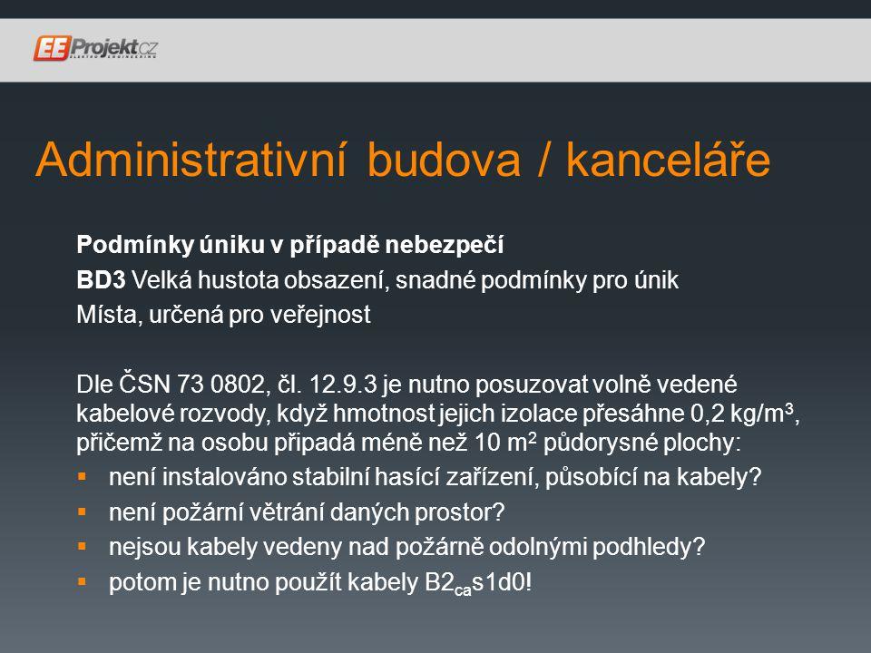 Administrativní budova / kanceláře Podmínky úniku v případě nebezpečí BD3 Velká hustota obsazení, snadné podmínky pro únik Místa, určená pro veřejnost Dle ČSN 73 0802, čl.