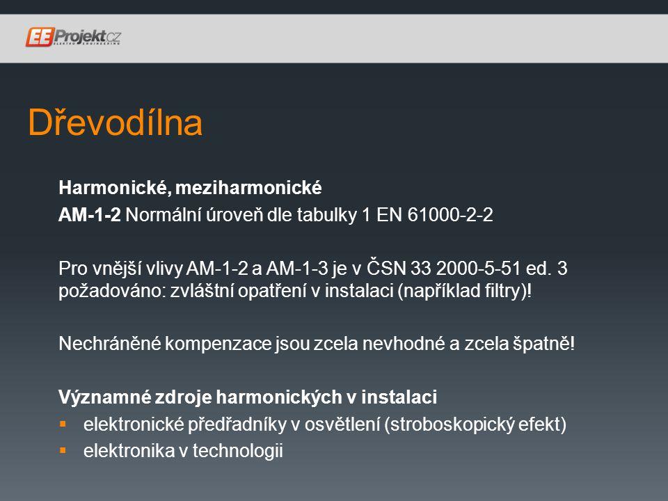 Dřevodílna Harmonické, meziharmonické AM-1-2 Normální úroveň dle tabulky 1 EN 61000-2-2 Pro vnější vlivy AM-1-2 a AM-1-3 je v ČSN 33 2000-5-51 ed.