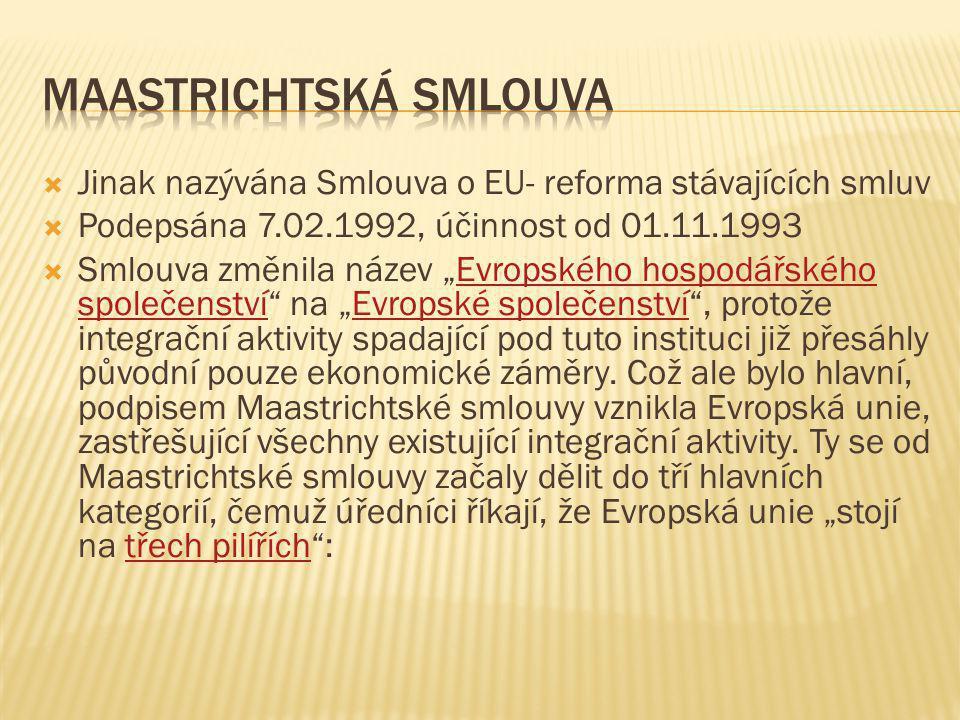 """ Jinak nazývána Smlouva o EU- reforma stávajících smluv  Podepsána 7.02.1992, účinnost od 01.11.1993  Smlouva změnila název """"Evropského hospodářské"""