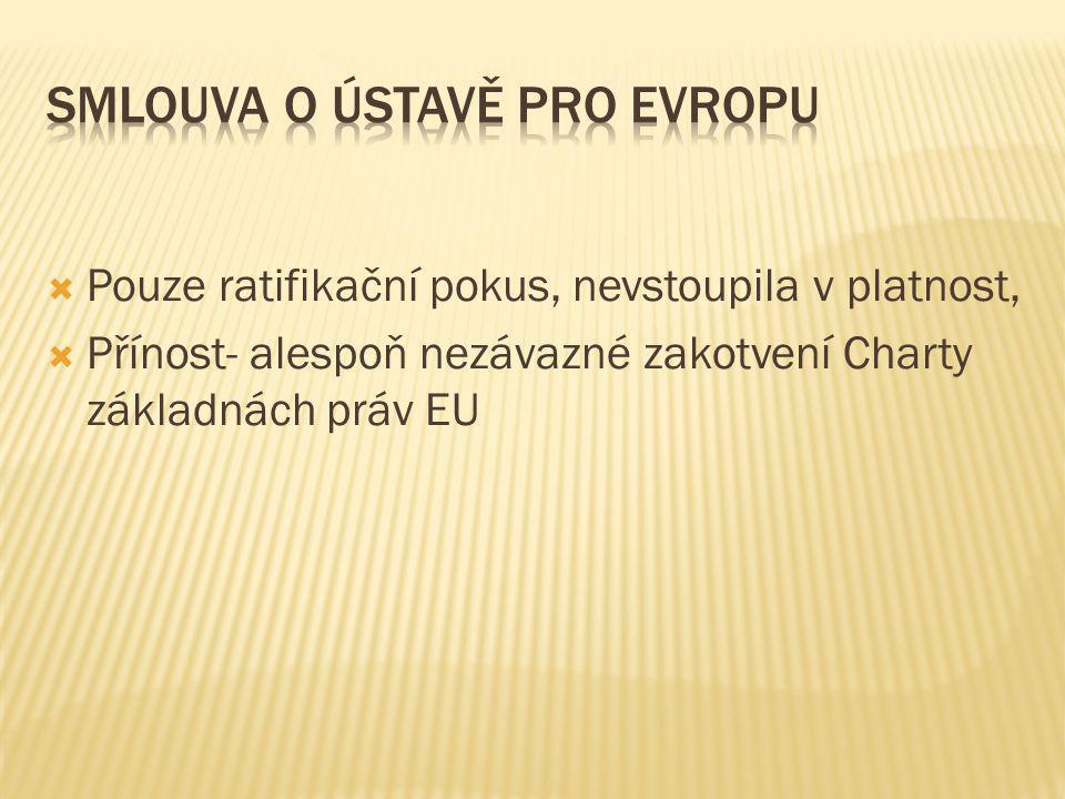  Pouze ratifikační pokus, nevstoupila v platnost,  Přínost- alespoň nezávazné zakotvení Charty základnách práv EU