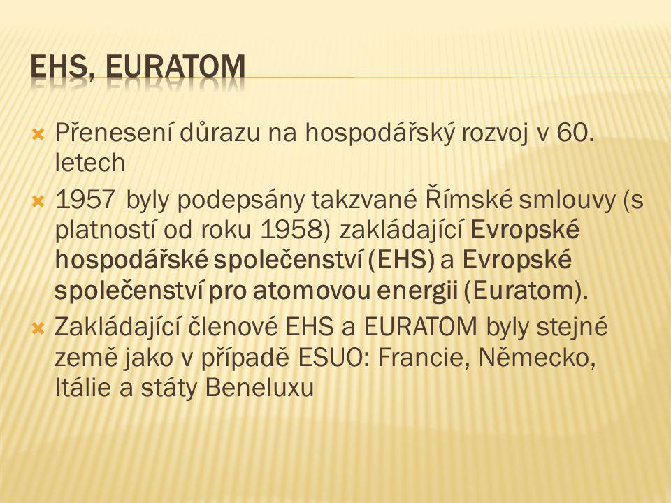  Přenesení důrazu na hospodářský rozvoj v 60. letech  1957 byly podepsány takzvané Římské smlouvy (s platností od roku 1958) zakládající Evropské ho