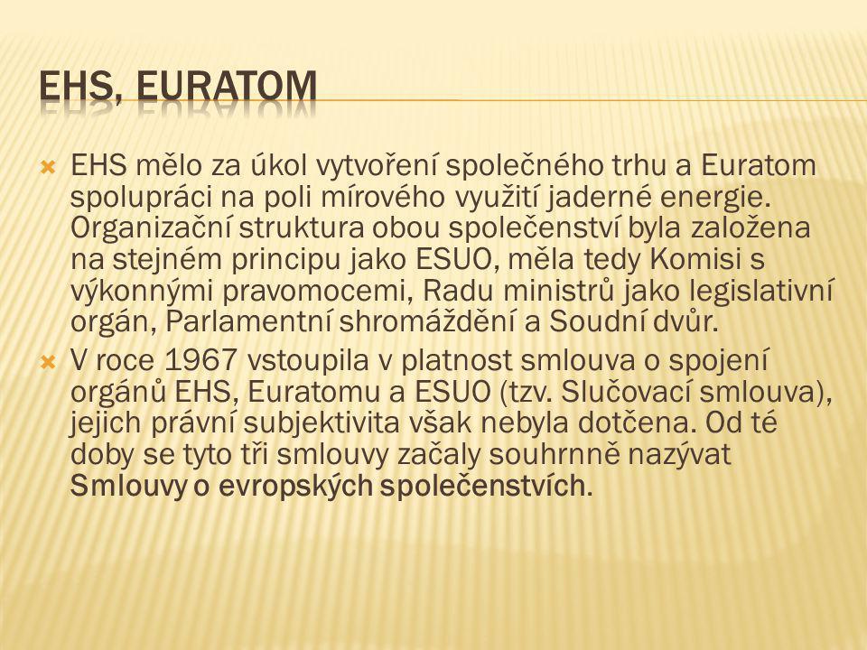  EHS mělo za úkol vytvoření společného trhu a Euratom spolupráci na poli mírového využití jaderné energie. Organizační struktura obou společenství by