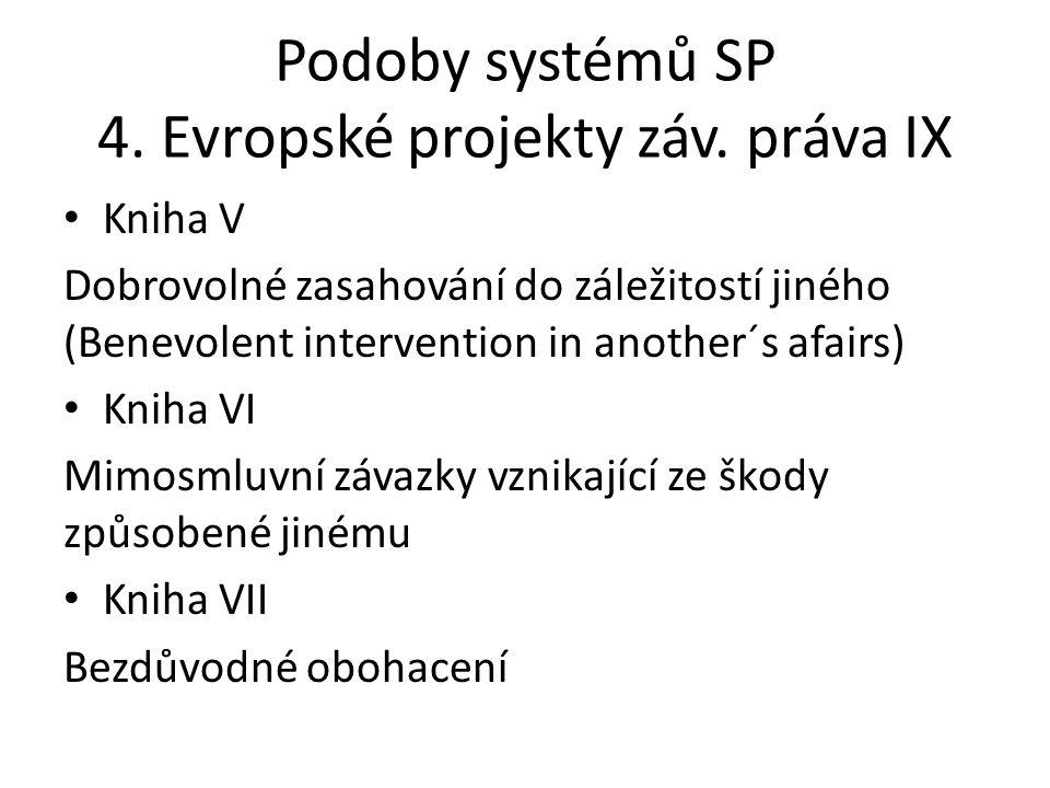Podoby systémů SP 4. Evropské projekty záv. práva IX • Kniha V Dobrovolné zasahování do záležitostí jiného (Benevolent intervention in another´s afair