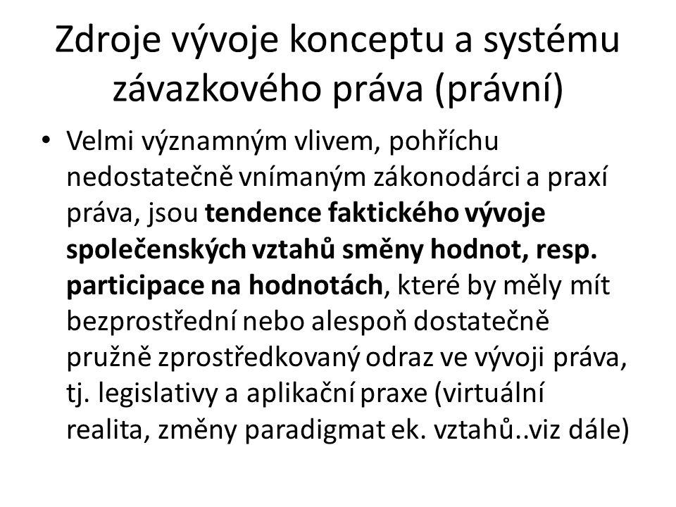 Zdroje vývoje konceptu a systému závazkového práva (právní) • Velmi významným vlivem, pohříchu nedostatečně vnímaným zákonodárci a praxí práva, jsou tendence faktického vývoje společenských vztahů směny hodnot, resp.
