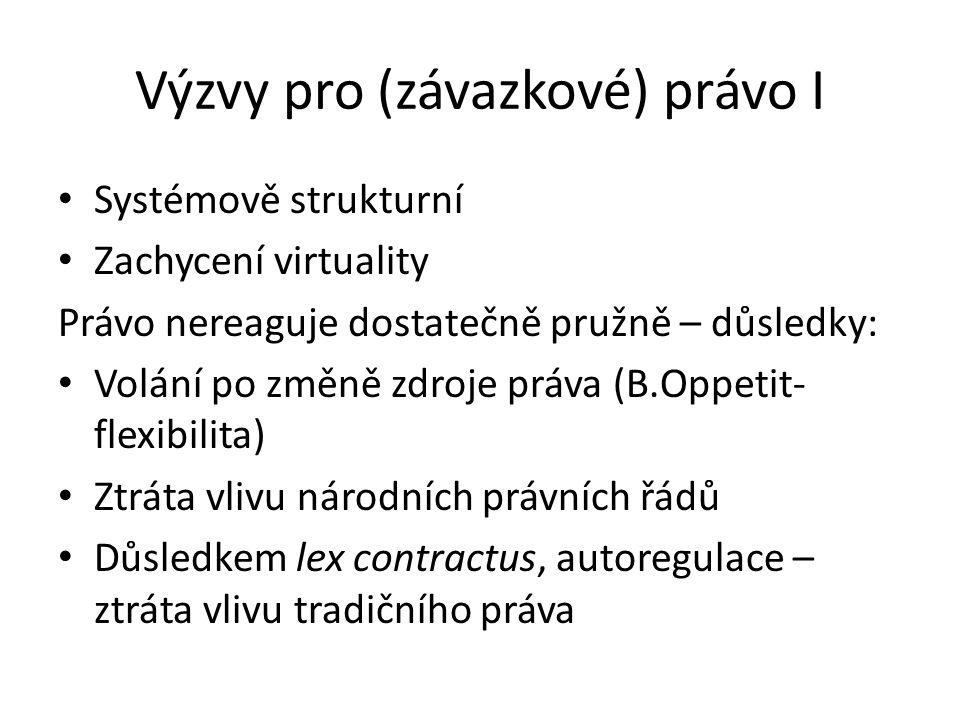 Výzvy pro (závazkové) právo I • Systémově strukturní • Zachycení virtuality Právo nereaguje dostatečně pružně – důsledky: • Volání po změně zdroje práva (B.Oppetit- flexibilita) • Ztráta vlivu národních právních řádů • Důsledkem lex contractus, autoregulace – ztráta vlivu tradičního práva