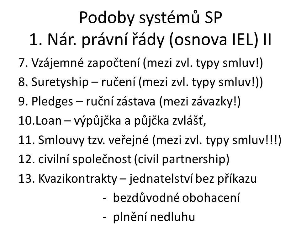 Podoby systémů SP 1. Nár. právní řády (osnova IEL) II 7. Vzájemné započtení (mezi zvl. typy smluv!) 8. Suretyship – ručení (mezi zvl. typy smluv!)) 9.