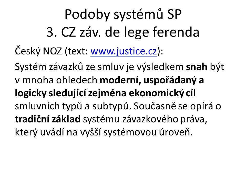 Podoby systémů SP 3. CZ záv. de lege ferenda Český NOZ (text: www.justice.cz):www.justice.cz Systém závazků ze smluv je výsledkem snah být v mnoha ohl