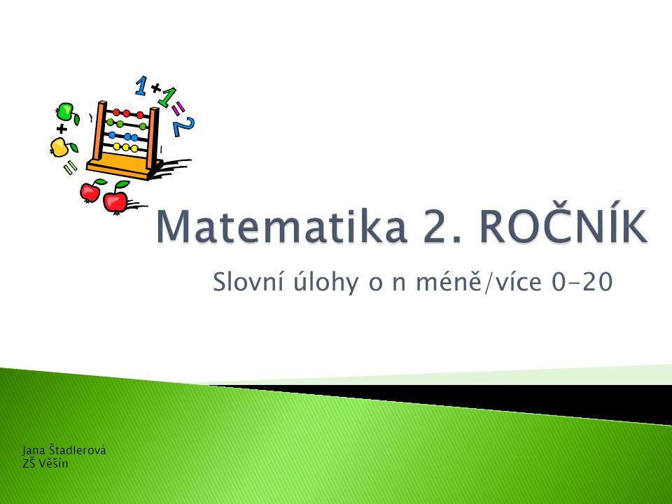 Slovní úlohy o n méně/více 0-20 Jana Štadlerová ZŠ Věšín