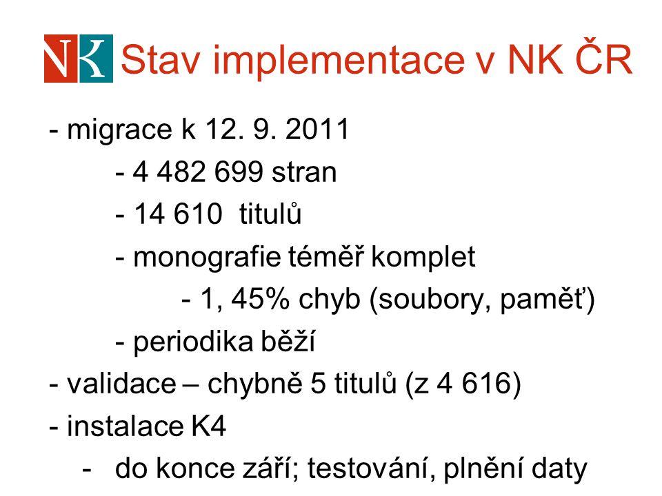 Stav implementace v NK ČR - migrace k 12. 9. 2011 - 4 482 699 stran - 14 610 titulů - monografie téměř komplet - 1, 45% chyb (soubory, paměť) - period