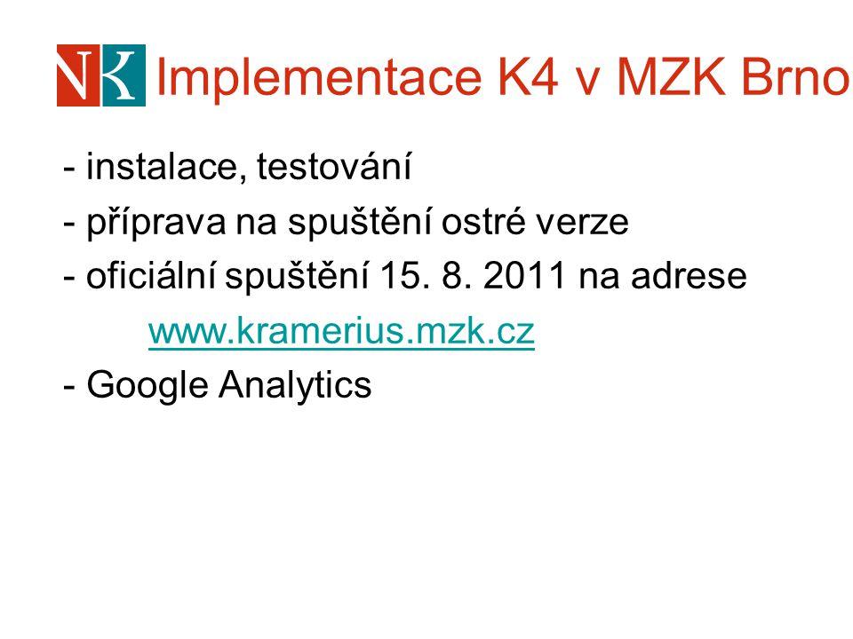 Implementace K4 v MZK Brno - instalace, testování - příprava na spuštění ostré verze - oficiální spuštění 15. 8. 2011 na adrese www.kramerius.mzk.cz -