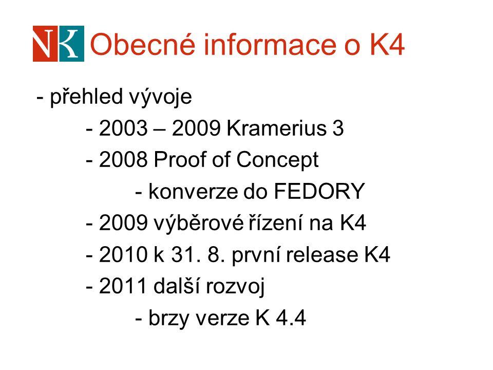 Obecné informace o K4 - přehled vývoje - 2003 – 2009 Kramerius 3 - 2008 Proof of Concept - konverze do FEDORY - 2009 výběrové řízení na K4 - 2010 k 31