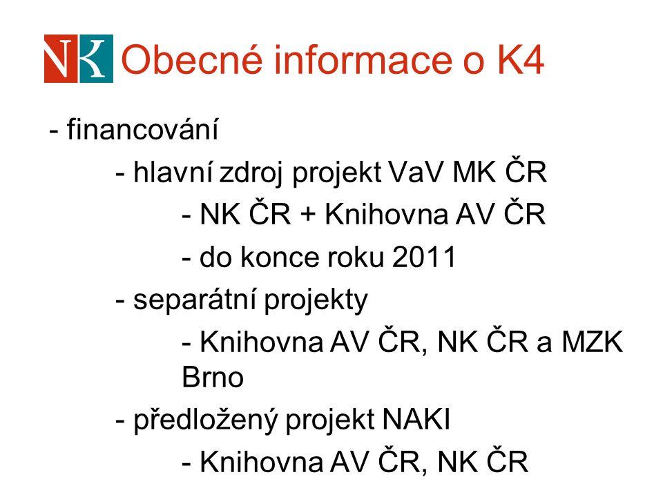 Obecné informace o K4 - financování - hlavní zdroj projekt VaV MK ČR - NK ČR + Knihovna AV ČR - do konce roku 2011 - separátní projekty - Knihovna AV
