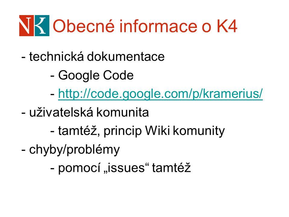 """- technická dokumentace - Google Code - http://code.google.com/p/kramerius/http://code.google.com/p/kramerius/ - uživatelská komunita - tamtéž, princip Wiki komunity - chyby/problémy - pomocí """"issues tamtéž"""