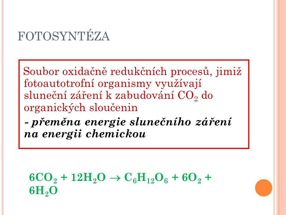 FOTOSYNTÉZA Soubor oxidačně redukčních procesů, jimiž fotoautotrofní organismy využívají sluneční záření k zabudování CO 2 do organických sloučenin -