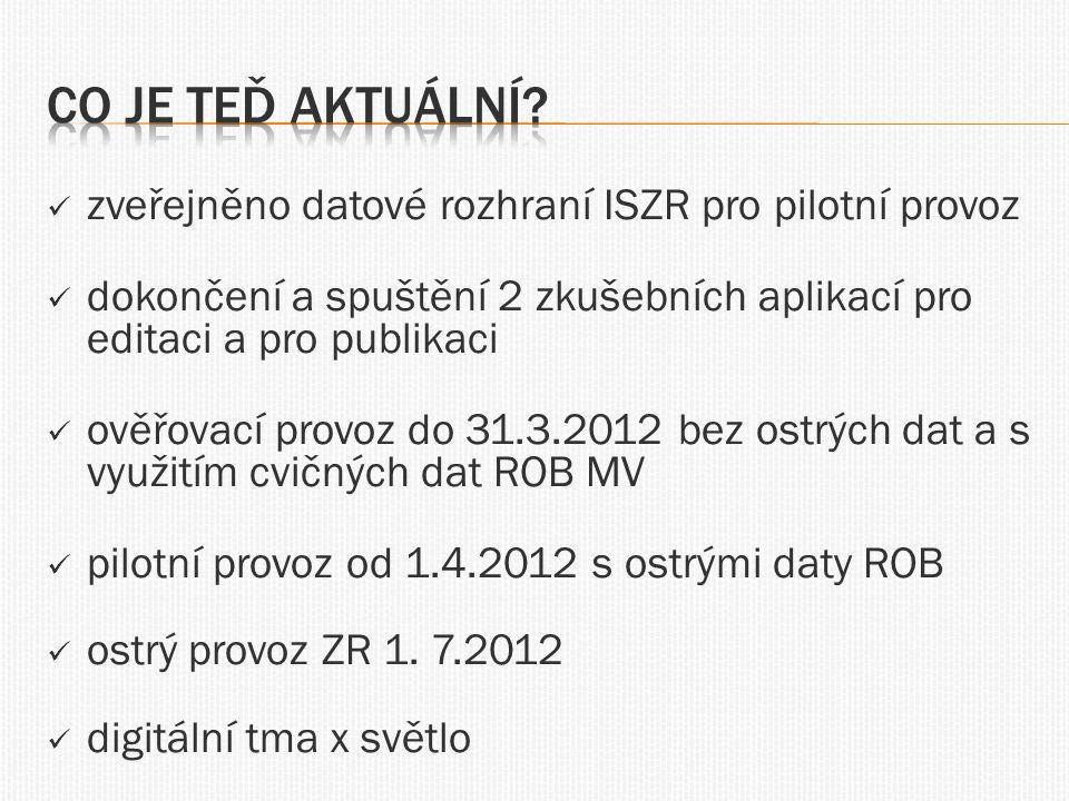  zveřejněno datové rozhraní ISZR pro pilotní provoz  dokončení a spuštění 2 zkušebních aplikací pro editaci a pro publikaci  ověřovací provoz do 31