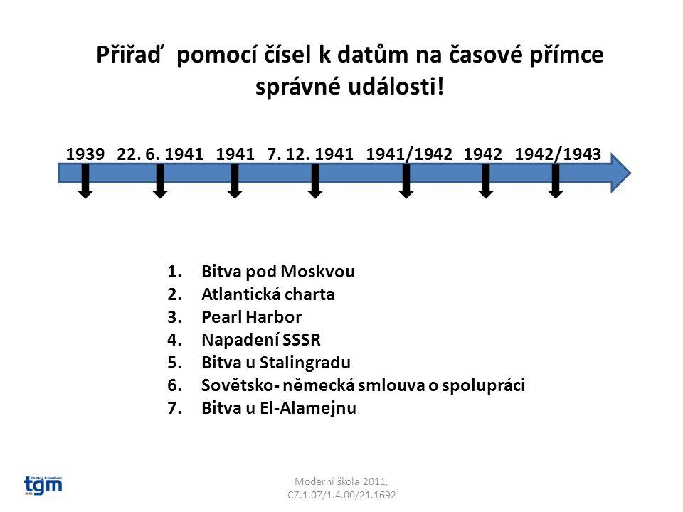 Moderní škola 2011, CZ.1.07/1.4.00/21.1692 Přiřaď pomocí čísel k datům na časové přímce správné události.