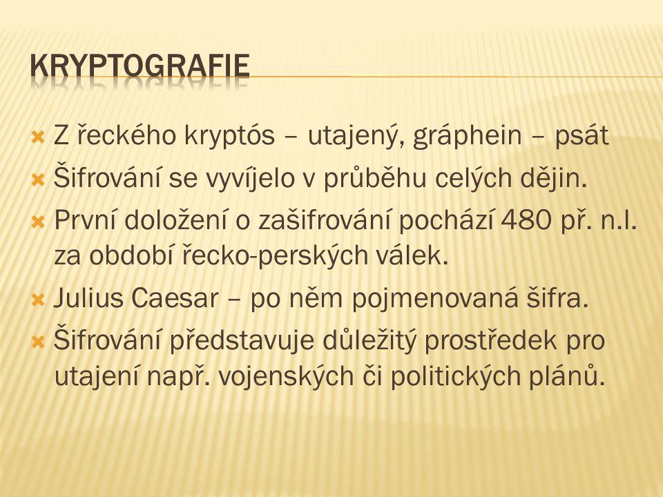  Z řeckého kryptós – utajený, gráphein – psát  Šifrování se vyvíjelo v průběhu celých dějin.  První doložení o zašifrování pochází 480 př. n.l. za