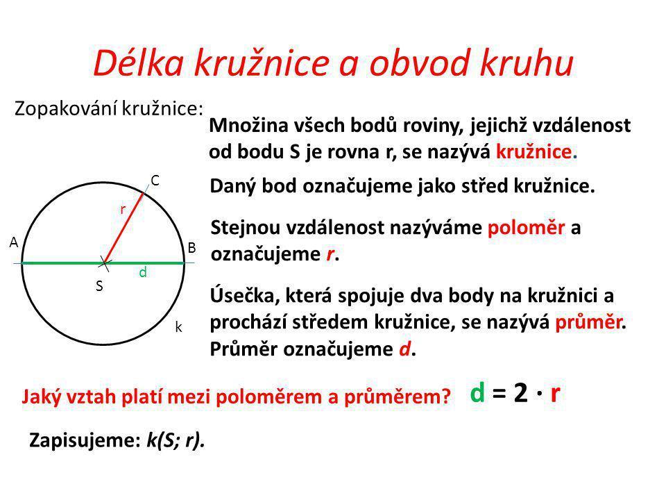 K S r d Délka kružnice a obvod kruhu Zopakování kruh: Množina všech bodů roviny, jejichž vzdálenost od bodu S je menší než r nebo se rovná r, se nazývá kruh.