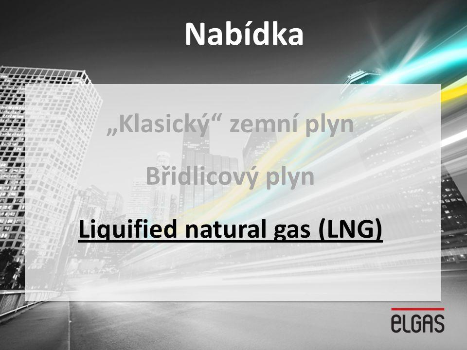 """Nabídka """"Klasický"""" zemní plyn Břidlicový plyn Liquified natural gas (LNG)"""