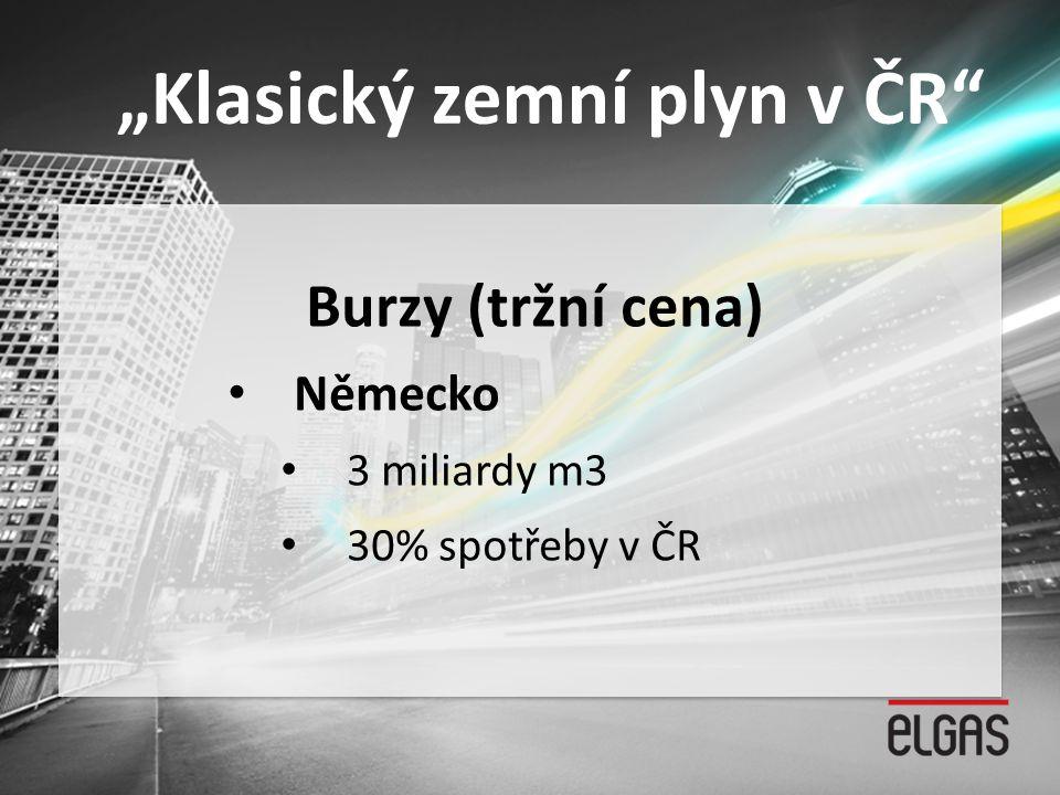 """""""Klasický zemní plyn v ČR"""" Burzy (tržní cena) • Německo • 3 miliardy m3 • 30% spotřeby v ČR"""