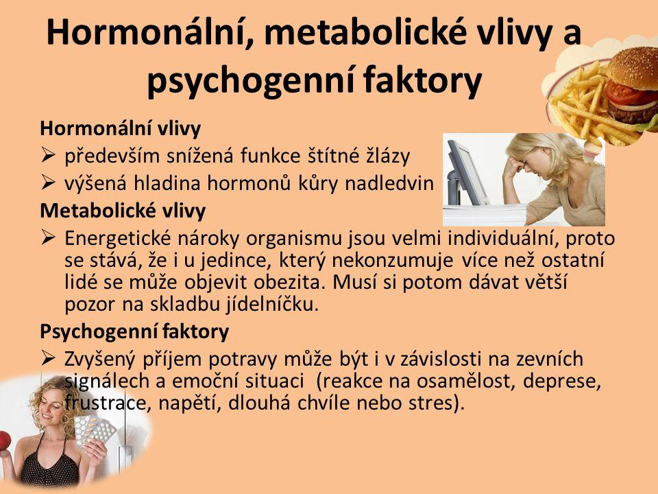 Hormonální, metabolické vlivy a psychogenní faktory Hormonální vlivy  především snížená funkce štítné žlázy  výšená hladina hormonů kůry nadledvin M