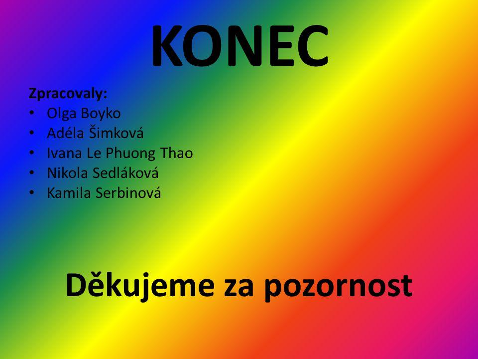 KONEC Zpracovaly: • Olga Boyko • Adéla Šimková • Ivana Le Phuong Thao • Nikola Sedláková • Kamila Serbinová Děkujeme za pozornost