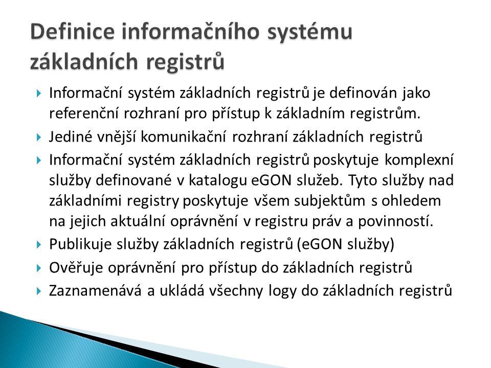  Informační systém základních registrů je definován jako referenční rozhraní pro přístup k základním registrům.  Jediné vnější komunikační rozhraní