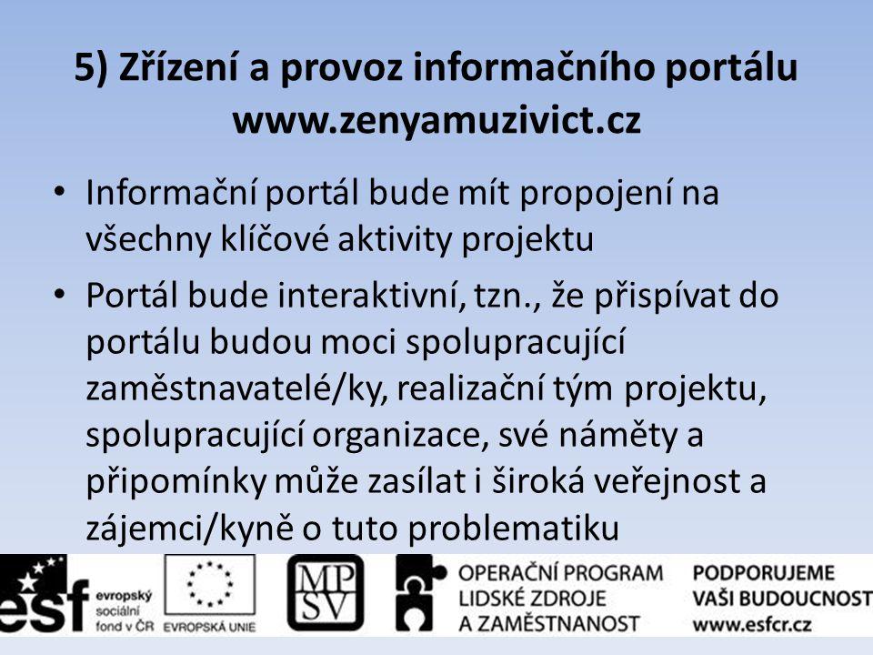 5) Zřízení a provoz informačního portálu www.zenyamuzivict.cz • Informační portál bude mít propojení na všechny klíčové aktivity projektu • Portál bud