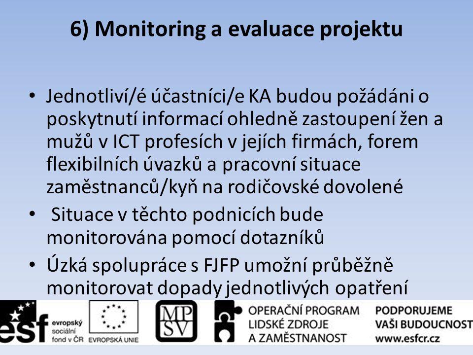6) Monitoring a evaluace projektu • Jednotliví/é účastníci/e KA budou požádáni o poskytnutí informací ohledně zastoupení žen a mužů v ICT profesích v