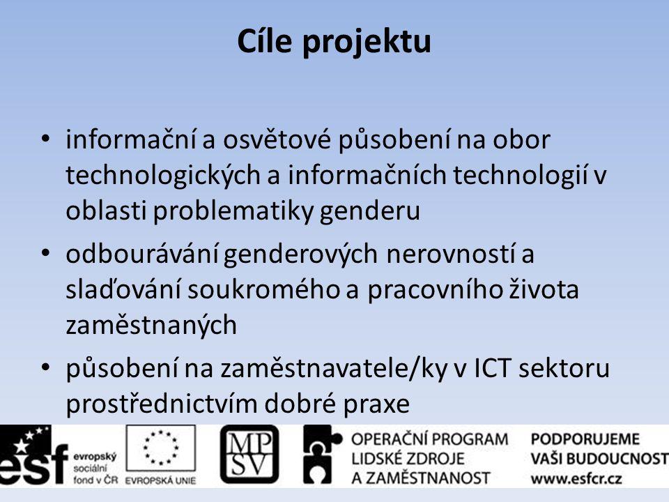 Cíle projektu • informační a osvětové působení na obor technologických a informačních technologií v oblasti problematiky genderu • odbourávání gendero