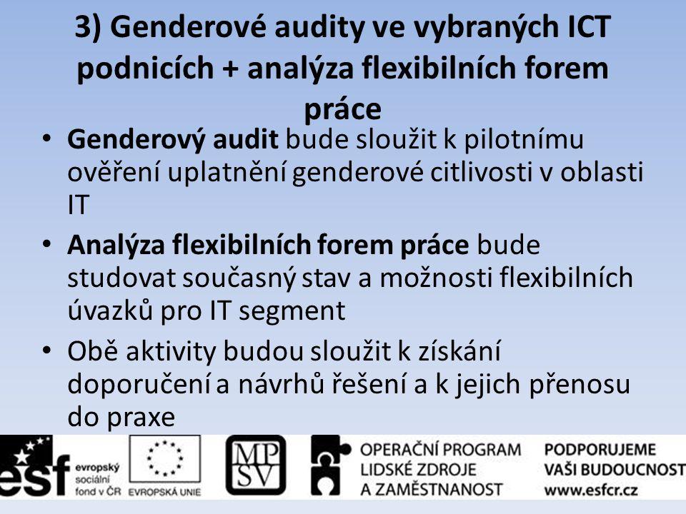 3) Genderové audity ve vybraných ICT podnicích + analýza flexibilních forem práce • Genderový audit bude sloužit k pilotnímu ověření uplatnění gendero