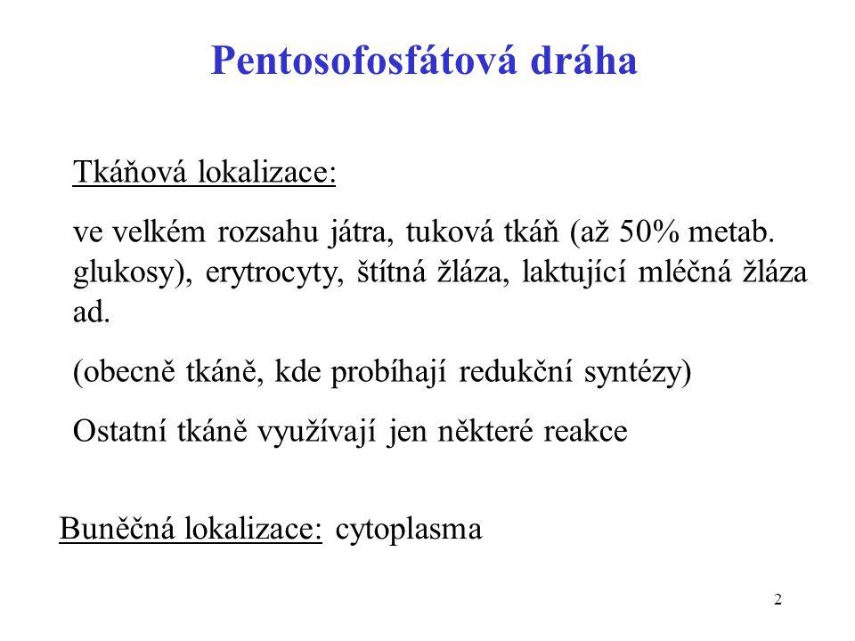 3 Význam pentosofosfátové dráhy • zdroj NADPH (redukční syntézy, oxygenasy se smíšenou funkcí, redukce glutathionu) • zdroj ribosa-5-P (nukleové kyseliny, nukleotidy) • zapojení pentos přijatých potravou do metabolismu Neslouží k zisku energie, ani energii přímo nespotřebovává