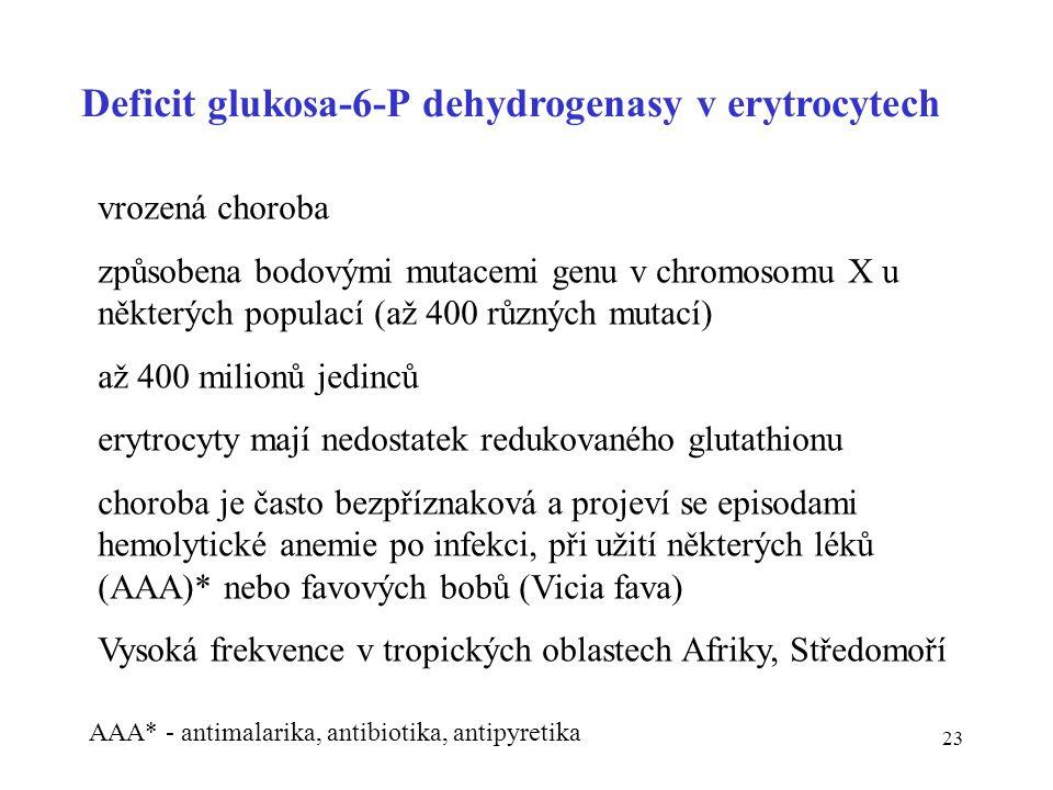 23 Deficit glukosa-6-P dehydrogenasy v erytrocytech vrozená choroba způsobena bodovými mutacemi genu v chromosomu X u některých populací (až 400 různý
