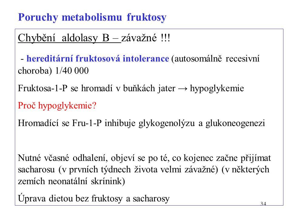 34 Chybění aldolasy B – závažné !!! - hereditární fruktosová intolerance (autosomálně recesivní choroba) 1/40 000 Fruktosa-1-P se hromadí v buňkách ja