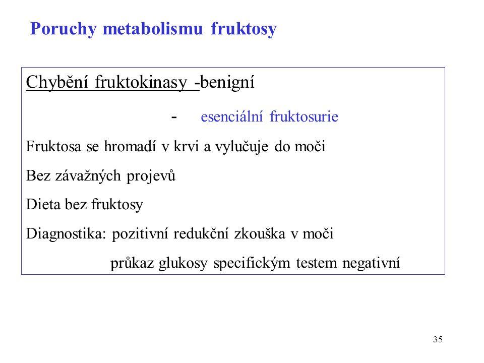 35 Chybění fruktokinasy -benigní - esenciální fruktosurie Fruktosa se hromadí v krvi a vylučuje do moči Bez závažných projevů Dieta bez fruktosy Diagn
