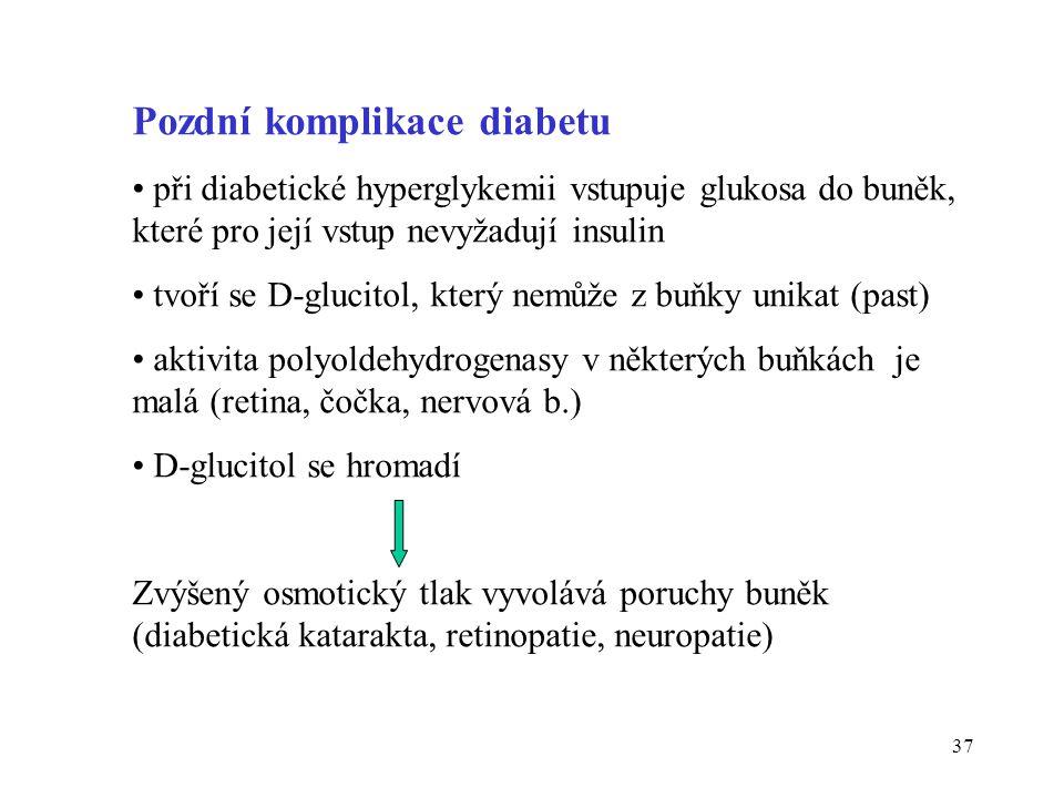 37 Pozdní komplikace diabetu • při diabetické hyperglykemii vstupuje glukosa do buněk, které pro její vstup nevyžadují insulin • tvoří se D-glucitol,