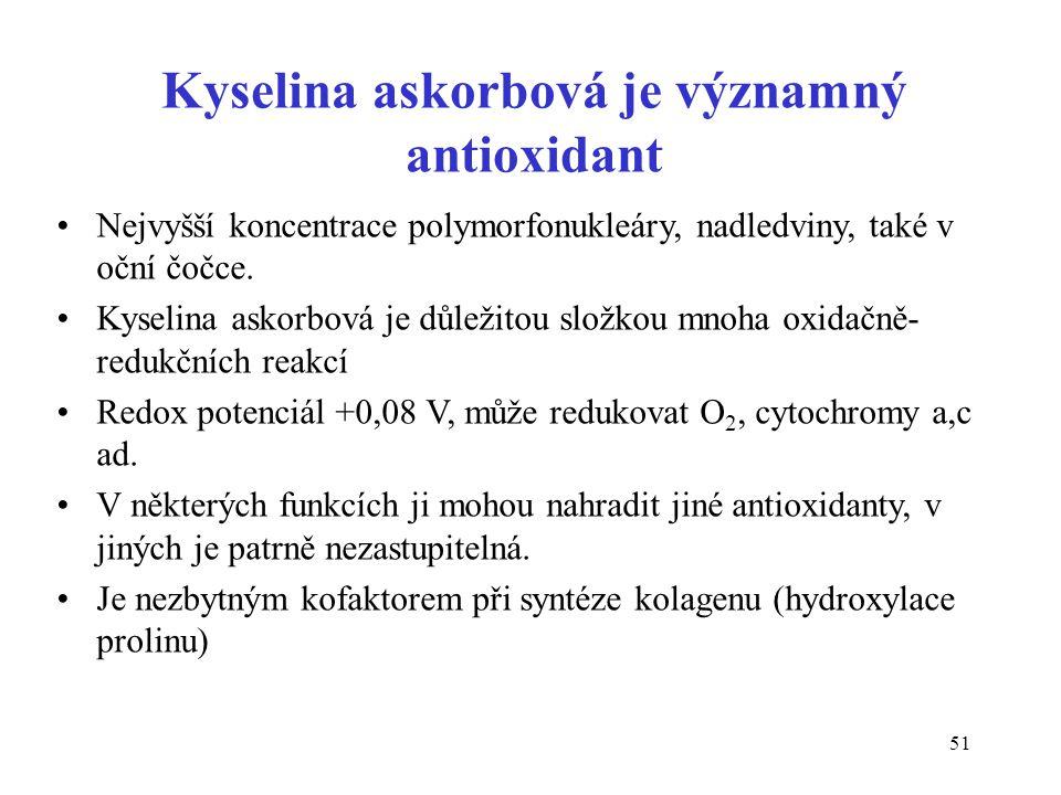 51 Kyselina askorbová je významný antioxidant •Nejvyšší koncentrace polymorfonukleáry, nadledviny, také v oční čočce. •Kyselina askorbová je důležitou
