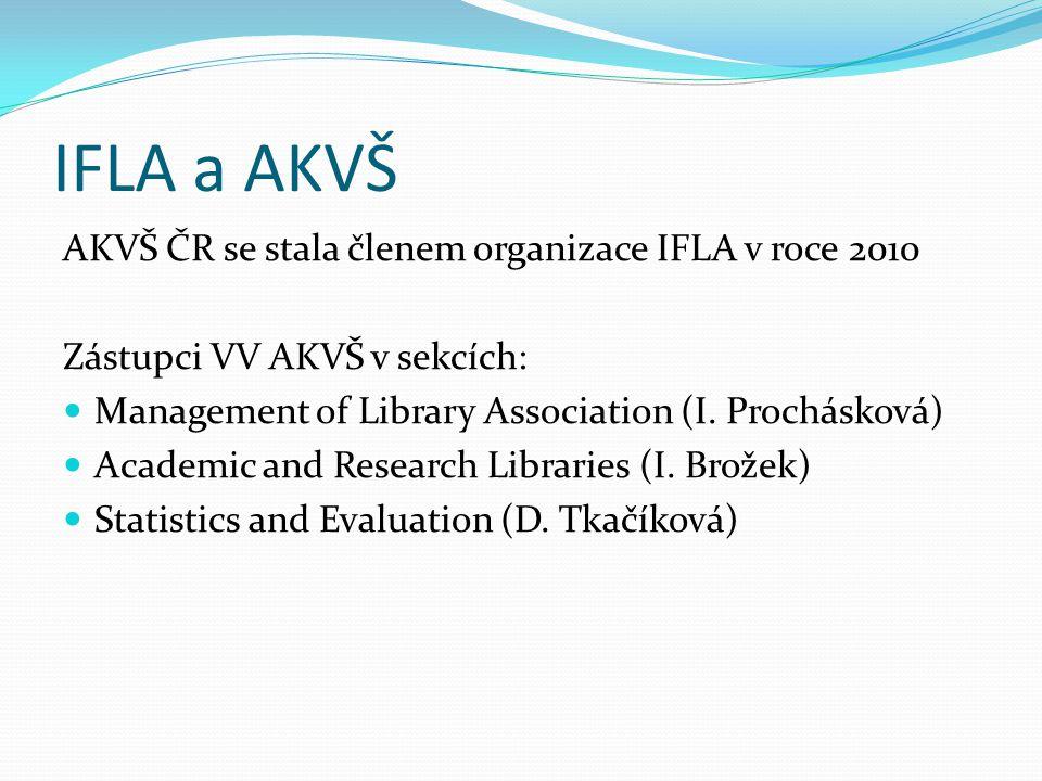 IFLA a AKVŠ AKVŠ ČR se stala členem organizace IFLA v roce 2010 Zástupci VV AKVŠ v sekcích:  Management of Library Association (I.