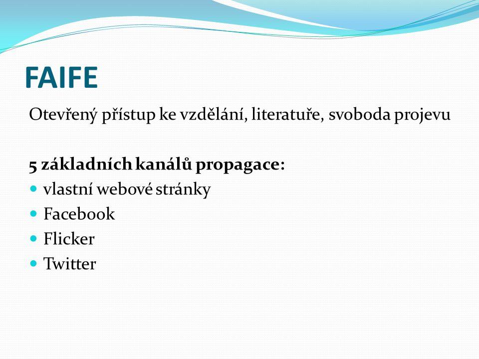 FAIFE Otevřený přístup ke vzdělání, literatuře, svoboda projevu 5 základních kanálů propagace:  vlastní webové stránky  Facebook  Flicker  Twitter