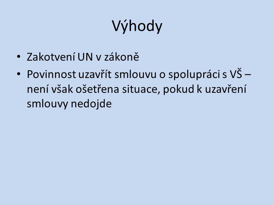 Výhody • Zakotvení UN v zákoně • Povinnost uzavřít smlouvu o spolupráci s VŠ – není však ošetřena situace, pokud k uzavření smlouvy nedojde